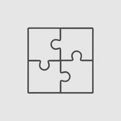 Business teamwork cooperation partnership vector icon. Puzzle simple isolated sign. Black illustration on grey background.