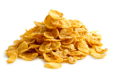 Heap of cornflakes isolated on white.