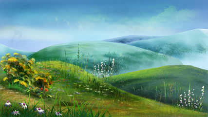 Green Hills Full of Grass and Flowers