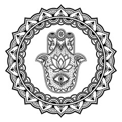 Hamsa hand drawn symbol in mandala. Mehndi style.Decorative pattern in oriental style. For henna tattoos, and decorative design documents and premises.