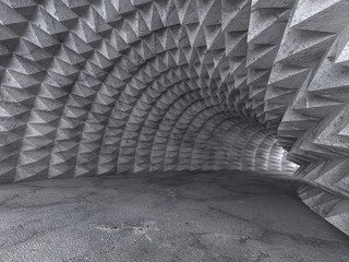 Abstrakcjonistyczny betonowy tunel 3D