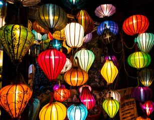 Typical vietnamese lanterns in a beautiful vietnamese city.