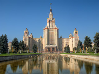 Lomonosov Moscow state university (MSU) at hot summer day, with dry fountain in front. Vertical HDR panoramic image, combined from 3 HDR photos (2 exposures each), total 6 RAW source photos used.