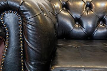 Luxurious Black leather sofa detail