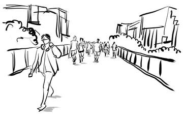 people walking in urban scene