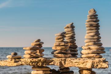 Stones towers on coast
