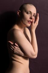 Bald woman