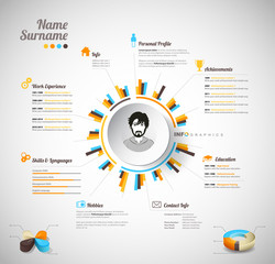 Creative, color rich CV / resume template with circle in the cen