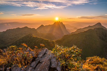 The beautiful sunset over Doi Luang Chiangdao the third highest mountains in Thailand.