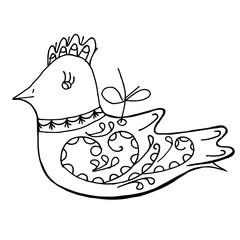 Bird doodle. vector illustration.
