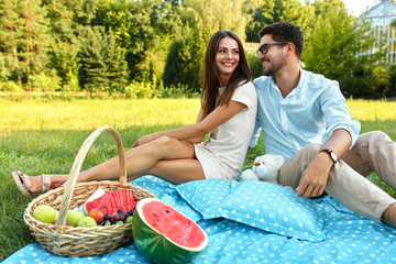Happy Couple In Love On Romantic Picnic In Park. Relationship