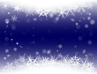 New Year Eve and Christmas background with snowflakes and snow drifts. Blue color.