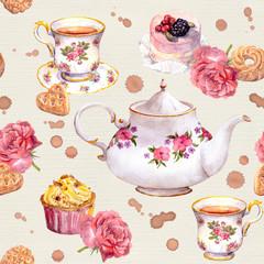 Tea pot, teacup, cakes, flowers. Repeating teatime pattern. Watercolour