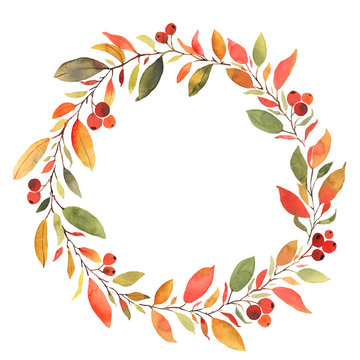 Autumn leaves watercolor decorative wreath