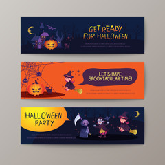 Set of happy halloween banners background template