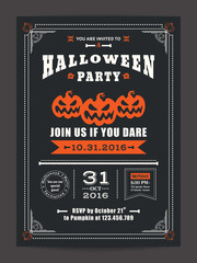 Halloween night party with scary pumpkins background for card poster flyer