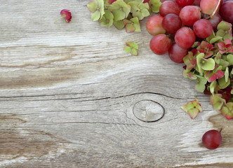 Autumn natural rustic background with pink grapes and green hydrangea flowers on a wooden board. Natural decorative fall frame or border with fruits and flowers on a wooden background. Top view.