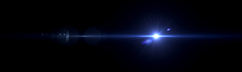 Beautiful light flares. Glowing streaks on dark background