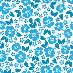 Hibiscus flowers seamless pattern. Hawaiian Aloha Shirt Seamless Background.