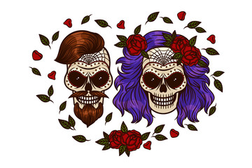 Set of vector images of the Mexican day for the dead. Drawing on the skull. Bride and groom on Halloween. Skull and Flowers.