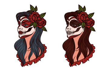 Mexican day of the dead. Vector girl makeup illustration. Makeup for Halloween. Tattoo, logo of the girl in Halloween style