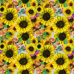 Seamless pattern with blue yellow and pink flowers