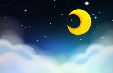 Night scene with moon and stars