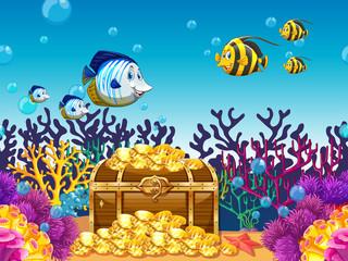 Scene with treassure and fish underwater