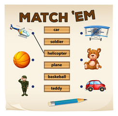 Matching game objects and words