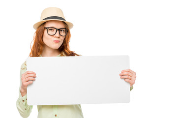 beautiful girl in a hat with a banner on a white background isol