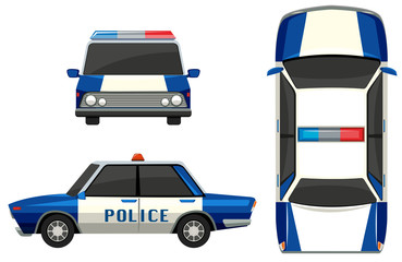 Police car in three different angles