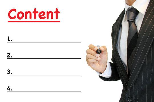 """コンテンツ 中身内容を強調するビジネスマン Business man emphasizing """"contents"""""""