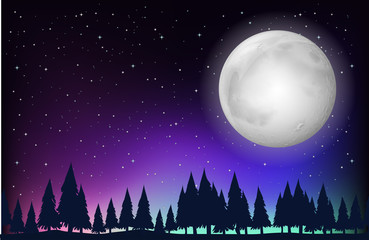 Nature scene with fullmoon and forest