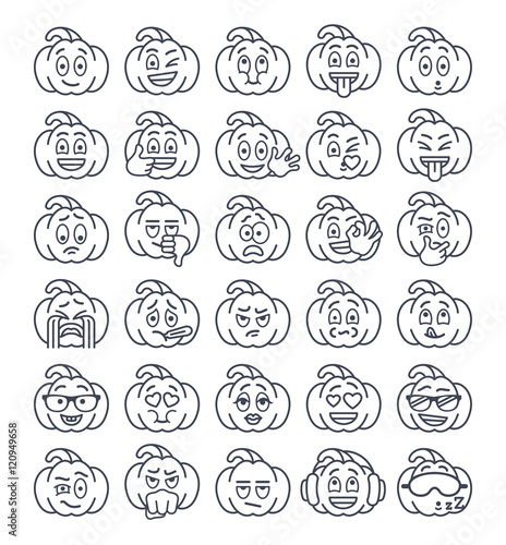 Halloween pumpkin thin line emoji emoticons  Linear smiley face