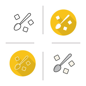 Spoon with refined sugar cubes icon