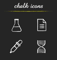 Chemical laboratory chalk icons set