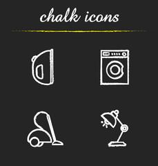 Household appliances chalk icons set