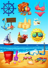 Ocean scene and beach objects