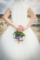 bride with bouquet - vintage