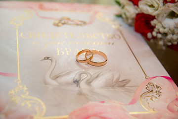 Two gold wedding rings lie on the background of the certificate of marriage with a pattern of swans and rings.