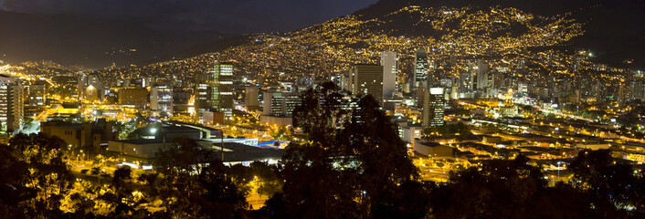Cityscape of Medellin at night, Colombia