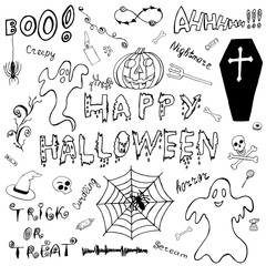 Happy Halloween. Hand Drawn Icons. Ideal Quality Itemized Sketch for your design. The Designation collection of elements, signs, symbols about Halloween. Attribute Art Doodles. Vector illustration.