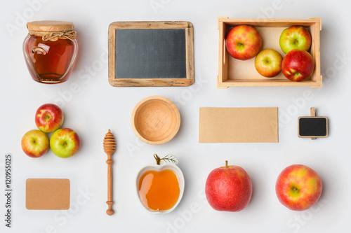 Jewish holiday Rosh Hashana mock up template with honey jar,apples ...