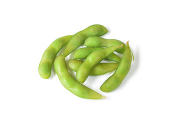 Edamame or soybeans on white background - isolated