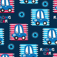 seamless racing car pattern vector illustration