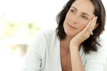 Pensive mature Caucasian woman