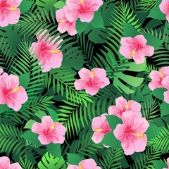 Seamless pattern with exotic hibiscus flowers and palm leaves. Endless tropical texture.