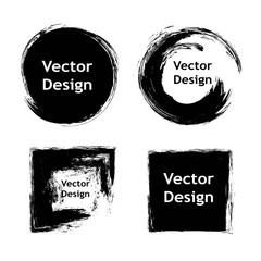 Set of hand drawn design elements. Black paint, ink artistic creative shapes, circles, squares. Vector illustration.