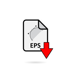 Eps file with red arrow download button on white background vector