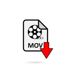 Mov file with red arrow download button on white background vector